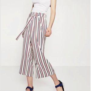 zara trafaluc striped wide leg trousers